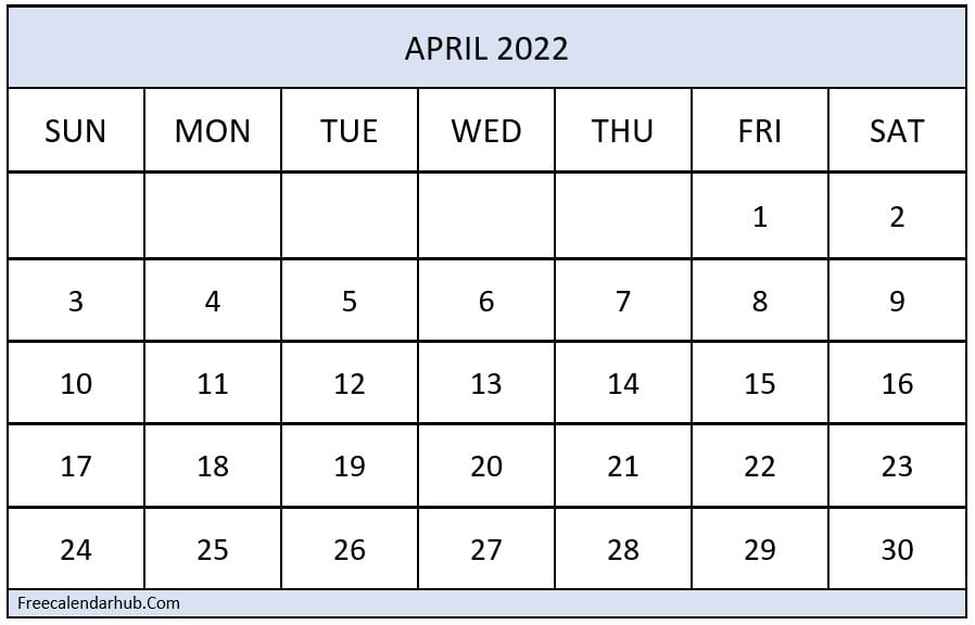 April 2022 Calendar For Office Use