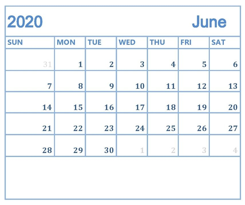 Blank June 2020 Template to Print