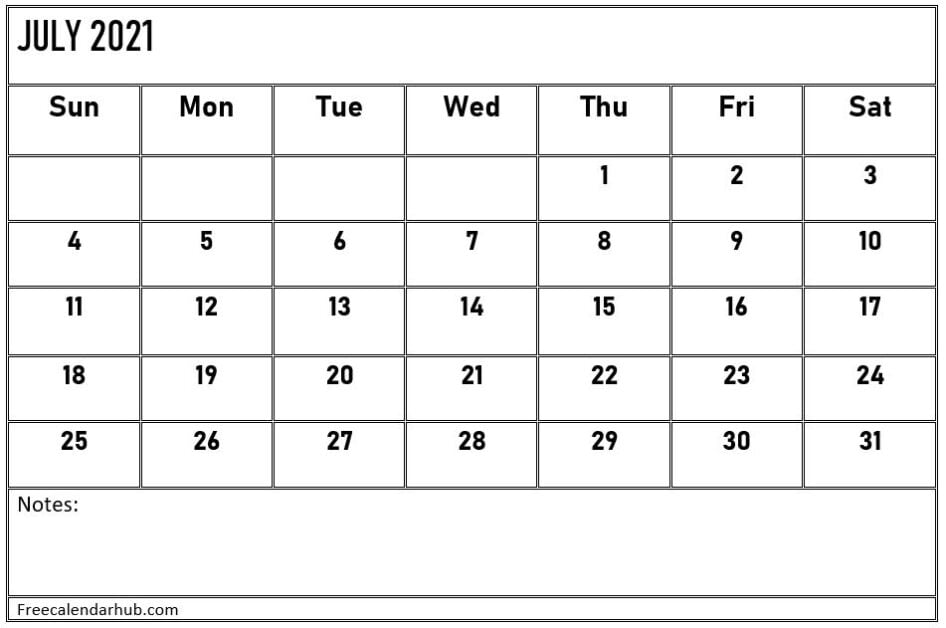 July 2021 Calendar Template With Notes