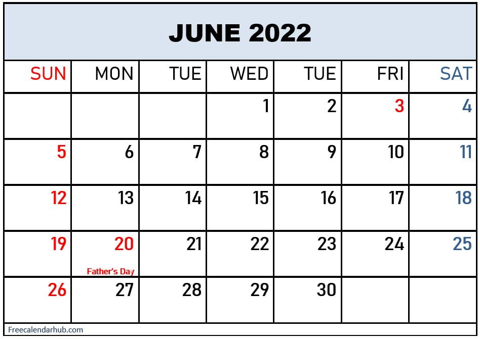 June 2022 Calendar With Holidays