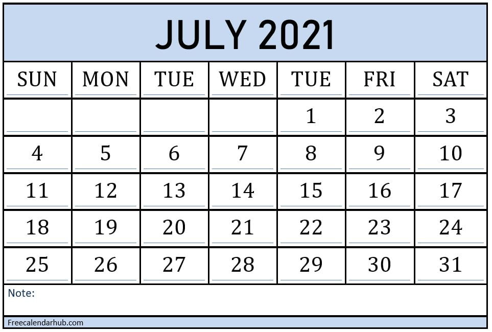 Printable Monthly Calendar of July 2021 with Holidays