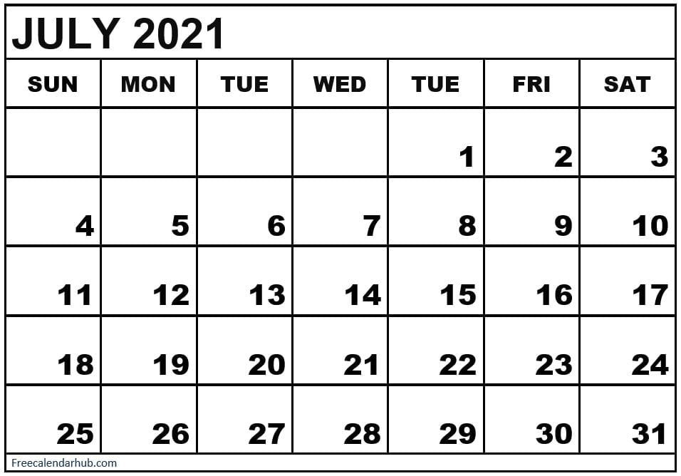 Calendar July 2021 Template With Holidays