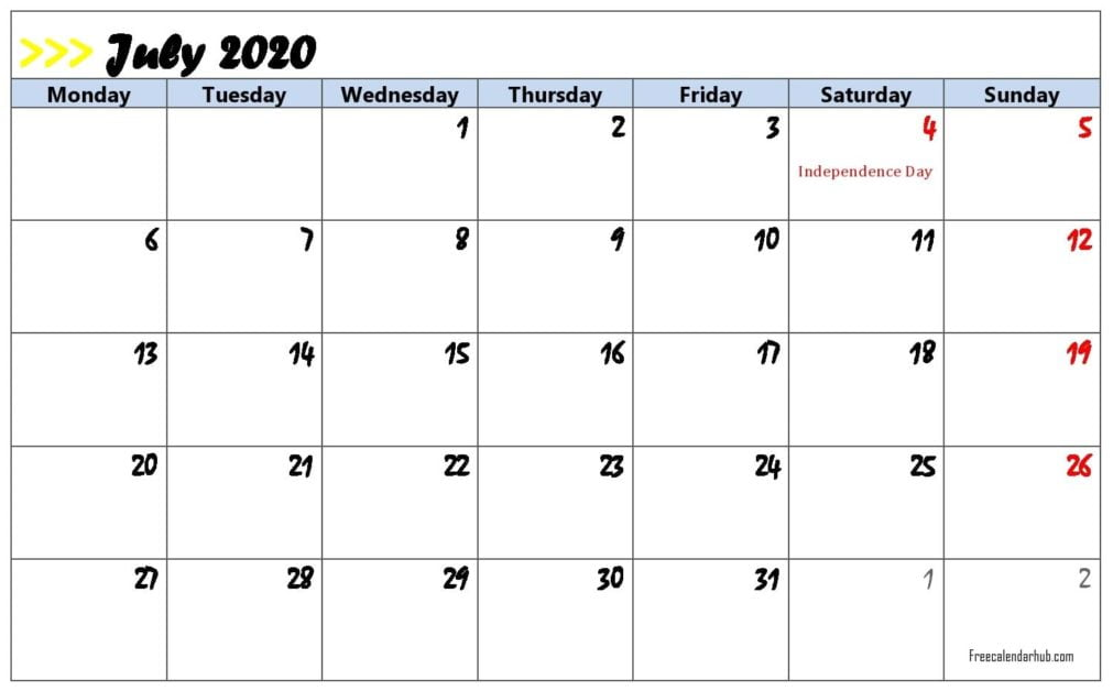 Printable July 2020 Holiday Calendar