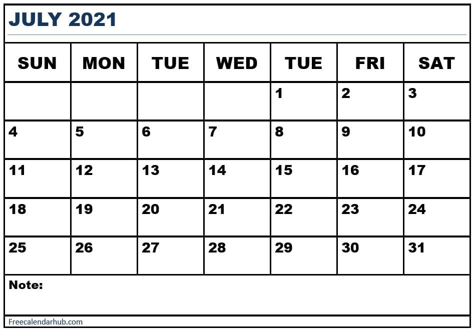 July 2021 Calendar Planner With Holidays