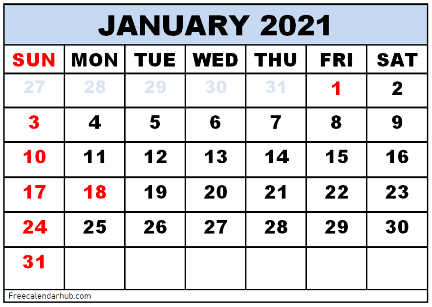 Free Printable January 2021 Calendar Template
