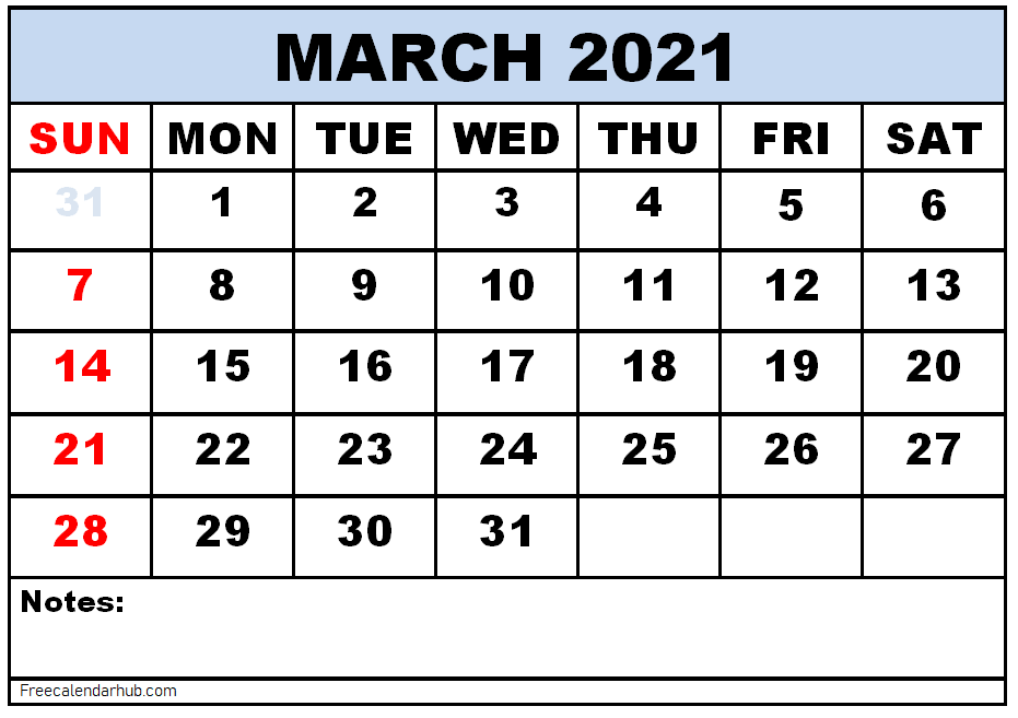 Free Printable March 2021 Calendar Template
