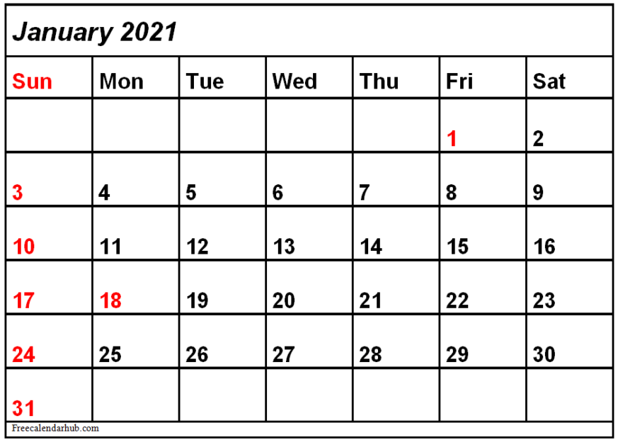 January 2021 Calendar Template Excel