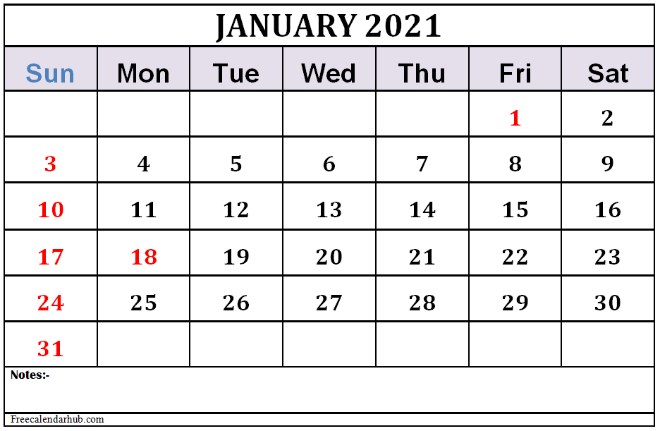 January 2021 Calendar Template Free Download