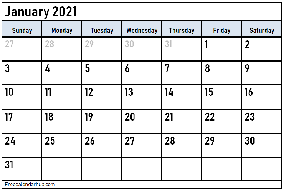 January 2021 Calendar Template Google Sheet