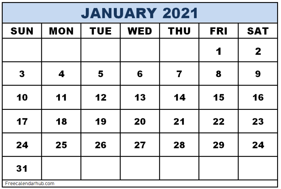 January 2021 Calendar Template Word