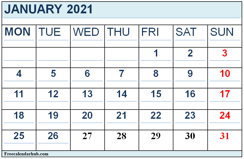 January 2021 Template Excel