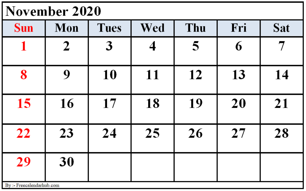 November 2020 Calendar Printable PDF, Word, Excel