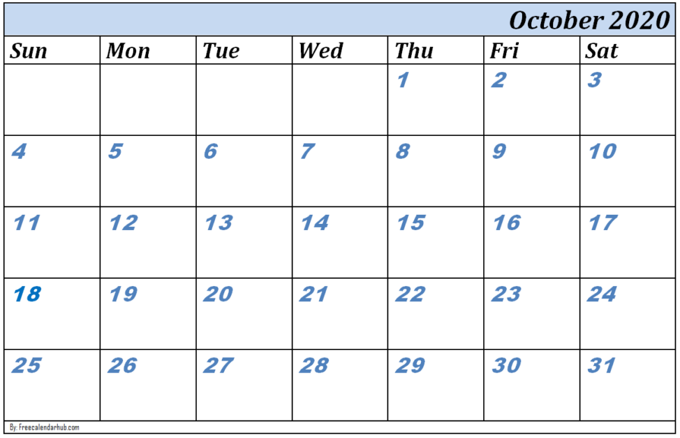 October 2020 Printable Calendar Template with Federal Holidays