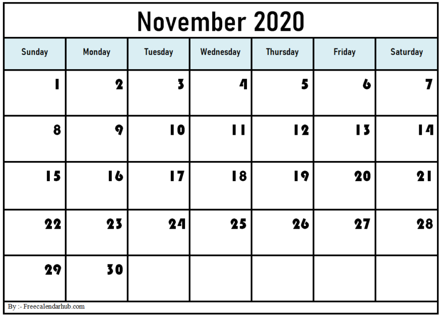 Printable November 2020 Calendar Template Excel