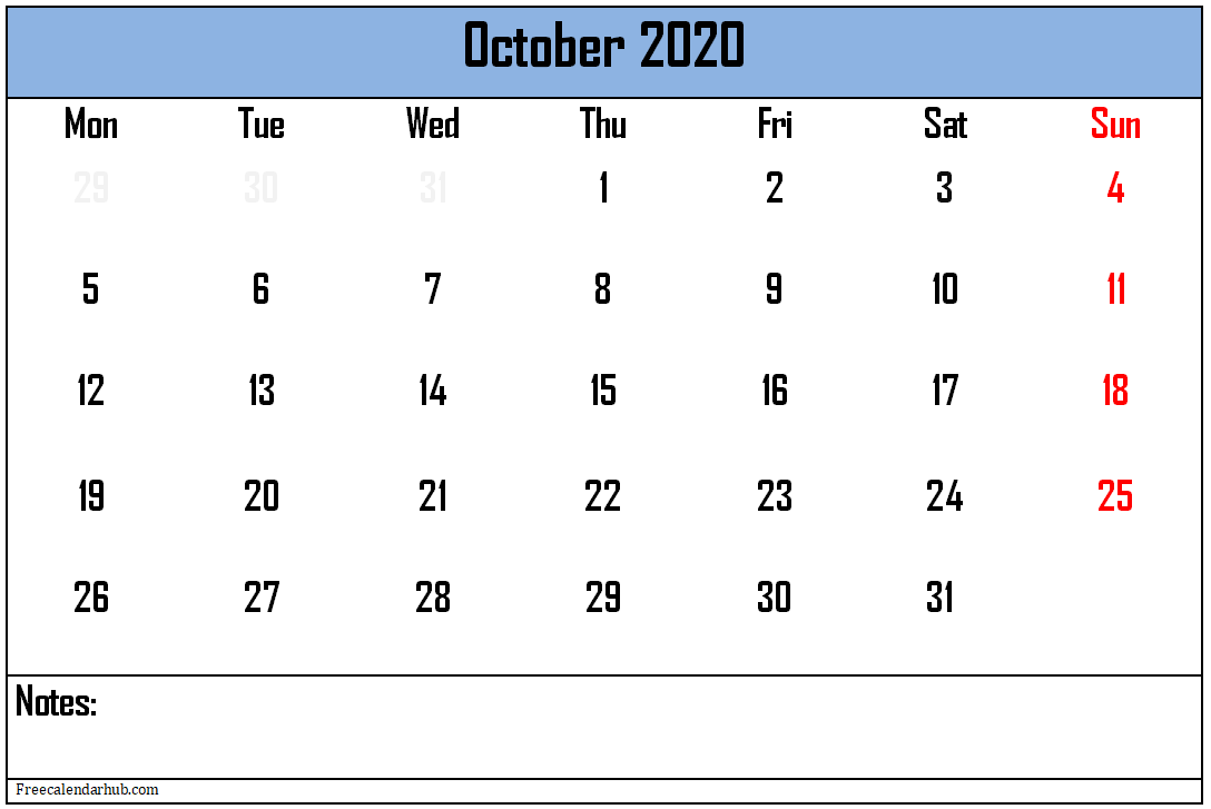 Printable October-2020 Calendar With Holidays Excel
