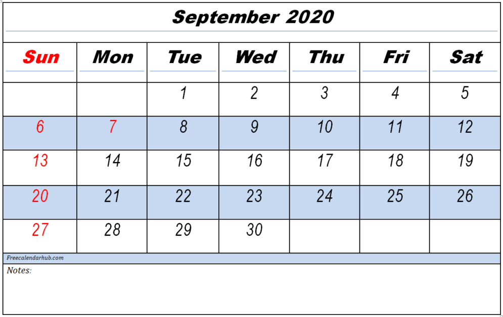 September 2020 Printable Calendar With Notes