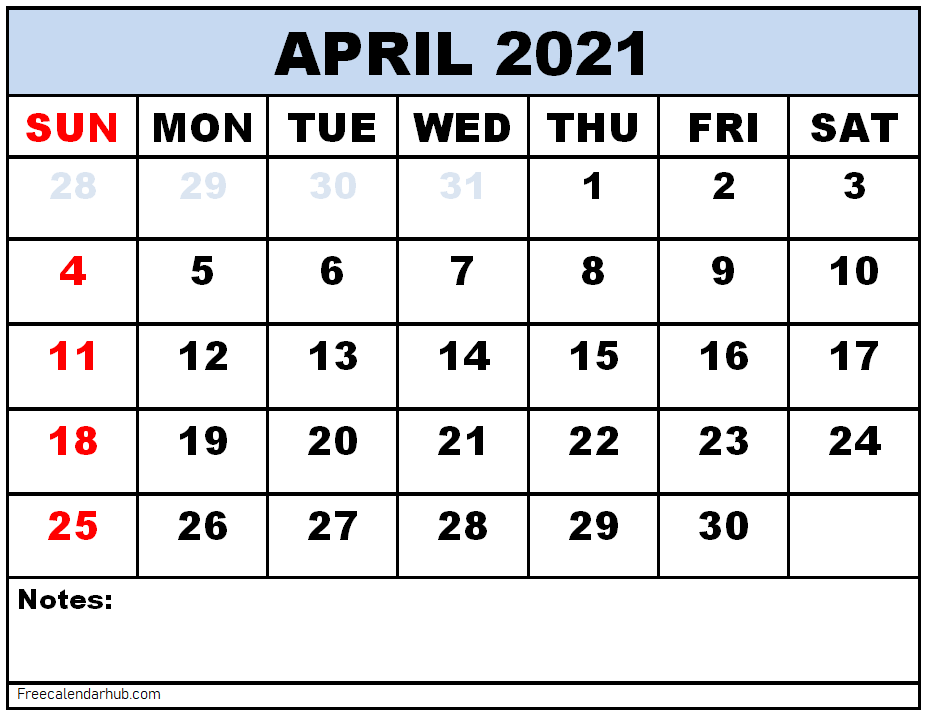 Free Printable April 2021 Calendar Template