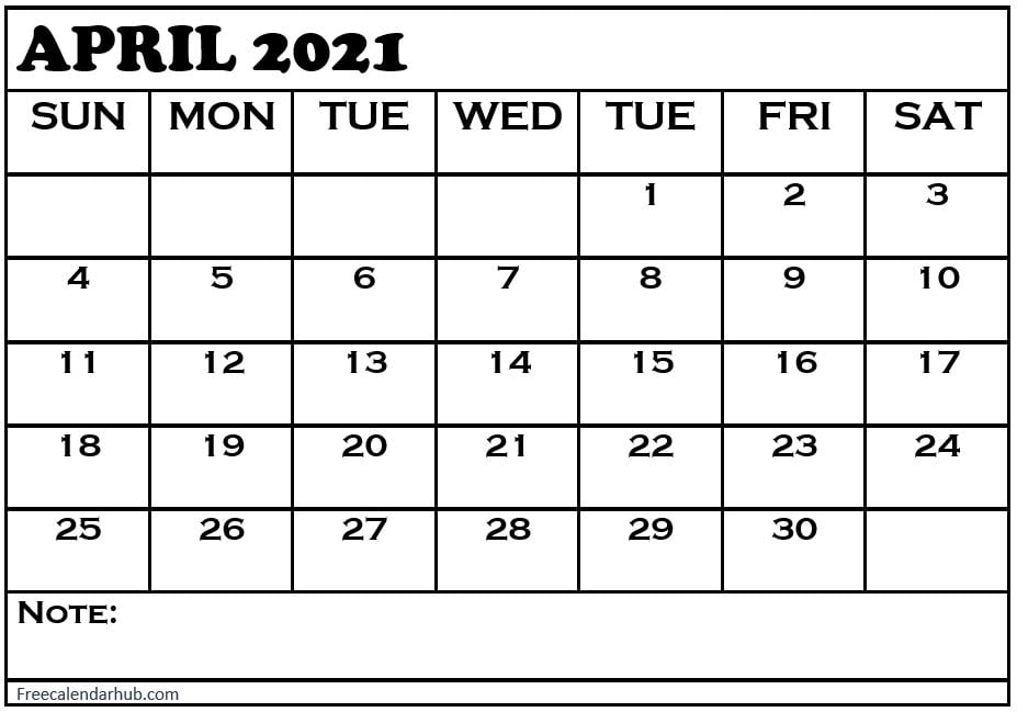 Blank April 2021 Calendar With Notes