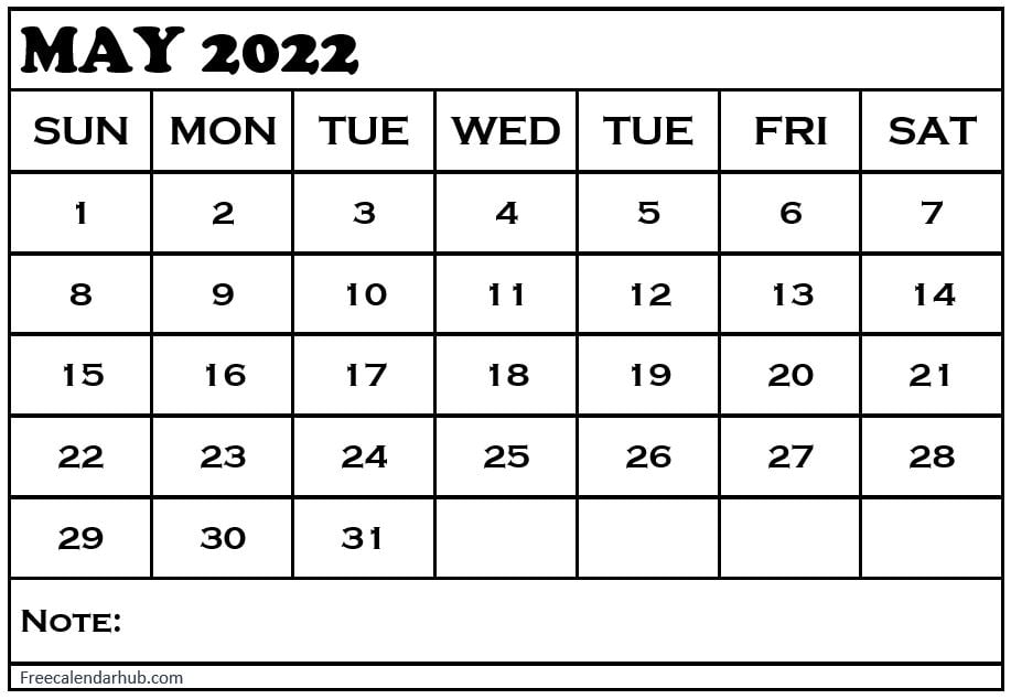 Blank May 2022 Monthly Calendar