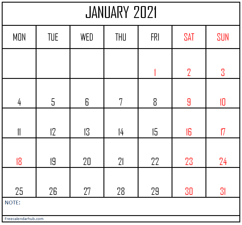 January 2021 Calendar with Note Column