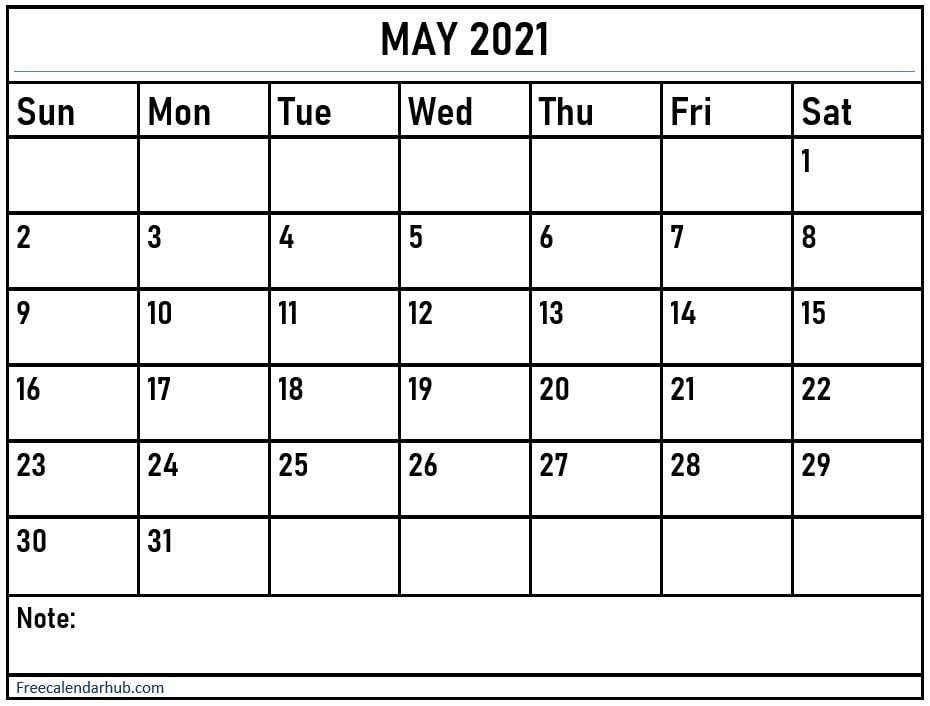 May 2021 Calendar Printable With Notes