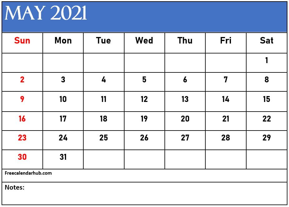 May 2021 Calendar Template With Notes