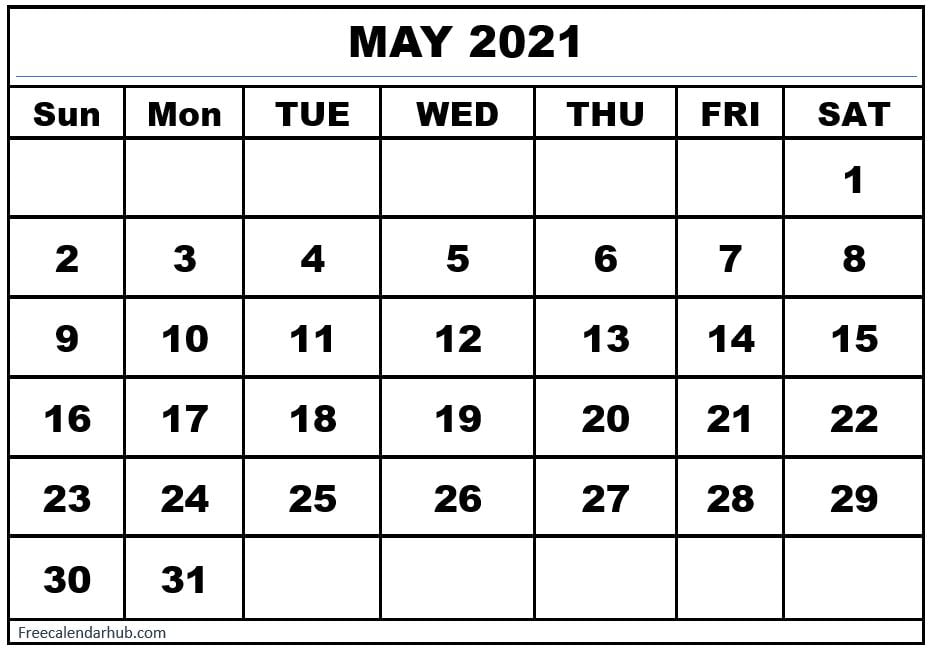 May 2021 Monthly Blank Calendar