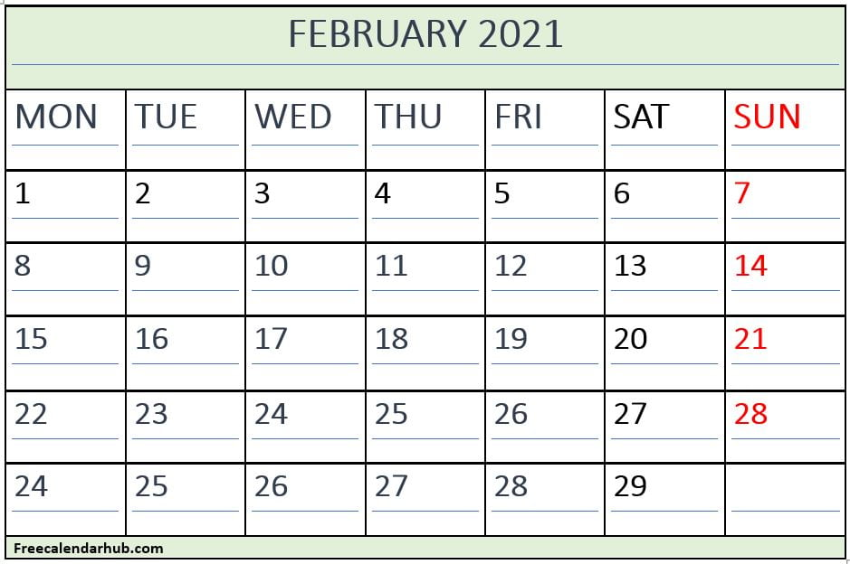 February 2021 Calendar Template With Monday Start