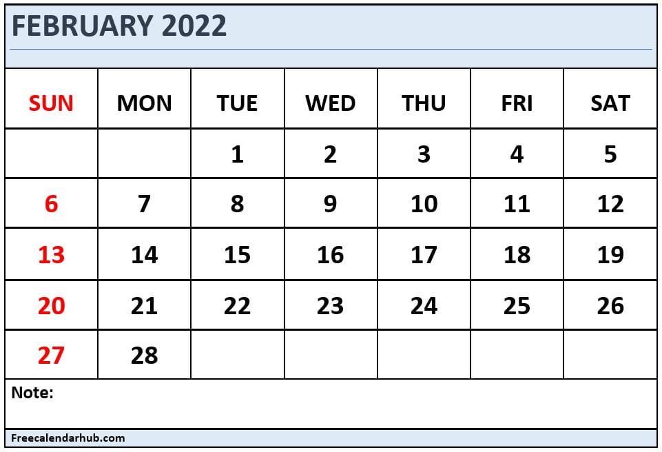 February 2022 Monthly Calendar Template