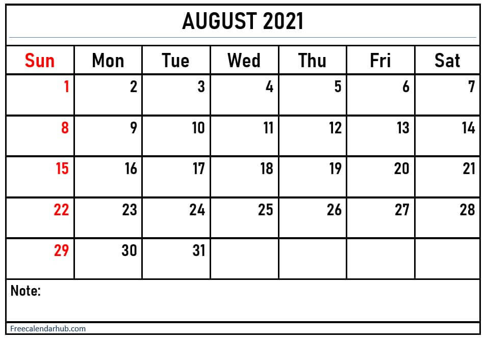 August 2021 Calendar Printable With Notes