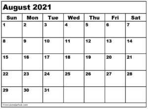 August 2021 Calendar Templates for Word, Excel and PDF