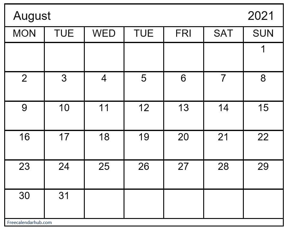 Printable Monthly Calendar For August 2021