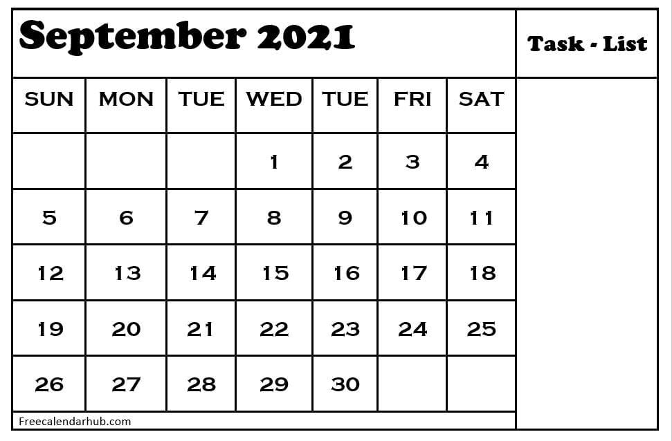 September 2021 Monthly Calendar with To-do-List