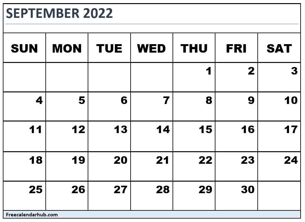September 2022 Calendar Free Download