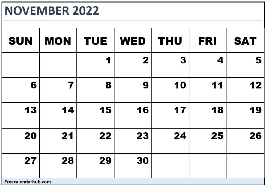 November 2022 Calendar Free Download