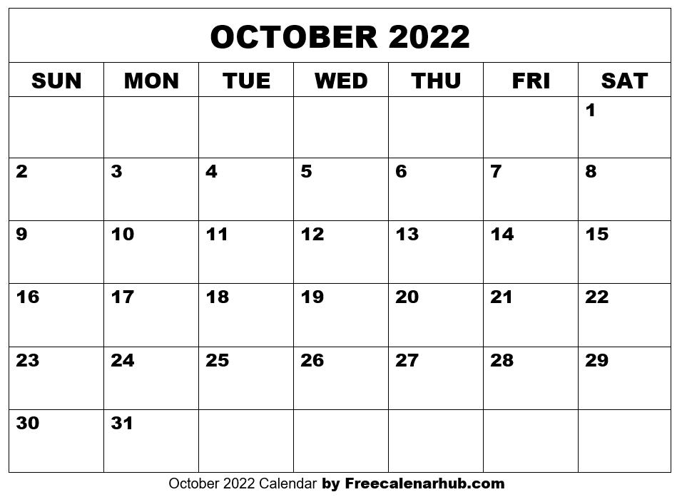 October 2022 Calendar Free Download